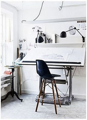 Large drafting desk. Need big taboret on the right side.