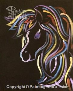 Neon Horse ALL AGES - Austin, TX - North Painting Class - Painting with a Twist