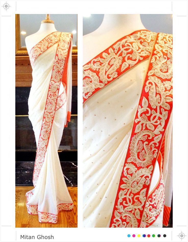 Chiffon saree with dori work border and crystals all over.