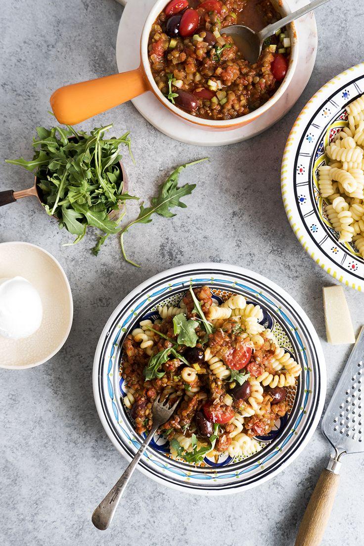 Pasta à la sicilienne aux lentilles et olives kalamata