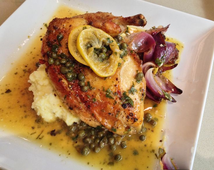 This has to be on the top ten best all time dinners that we have ever served. We served the chicken with butter milk mashed potatoes and herb roasted onions and because all items went beautifully together we thought we would offer recipes and instructions for the entire meal.
