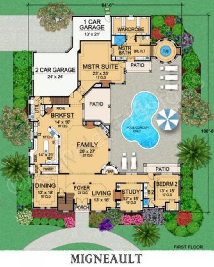 Migneault House Plan - Texas Style Floor - House Plan - Migneault House Plan First Floor Plan