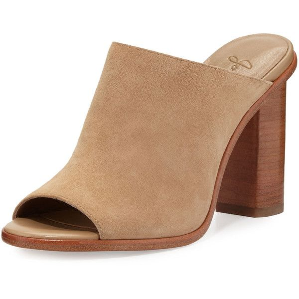 Joie Clementine Suede Chunky-Heel Mule Sandal ($315) ❤ liked on Polyvore featuring shoes, sandals, buff suede, slip-on shoes, open toe sandals, slip on sandals, slip on mules and mule sandals