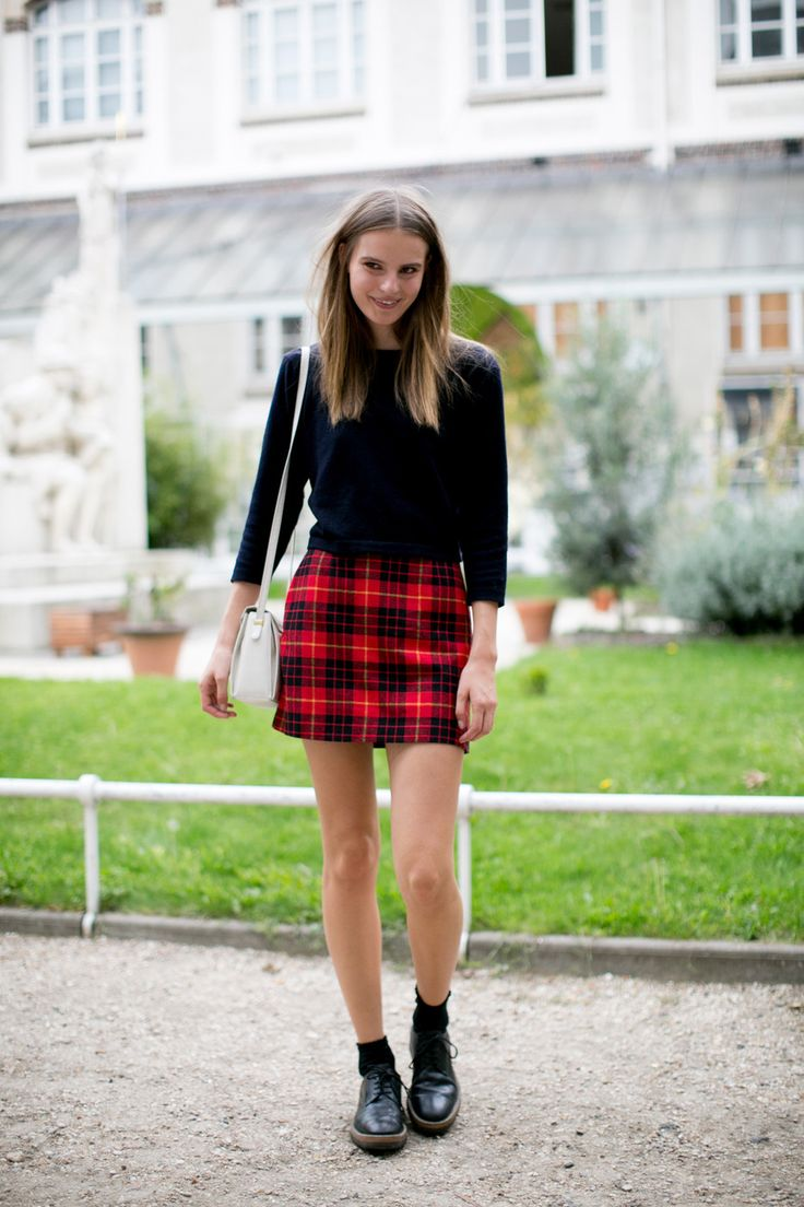 plaid mini skirt, socks and docs.