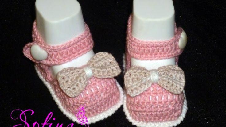 Пинетки туфельки крючком для принцессы Часть 1. Вязание для начинающих. Baby booties, crochet DIY