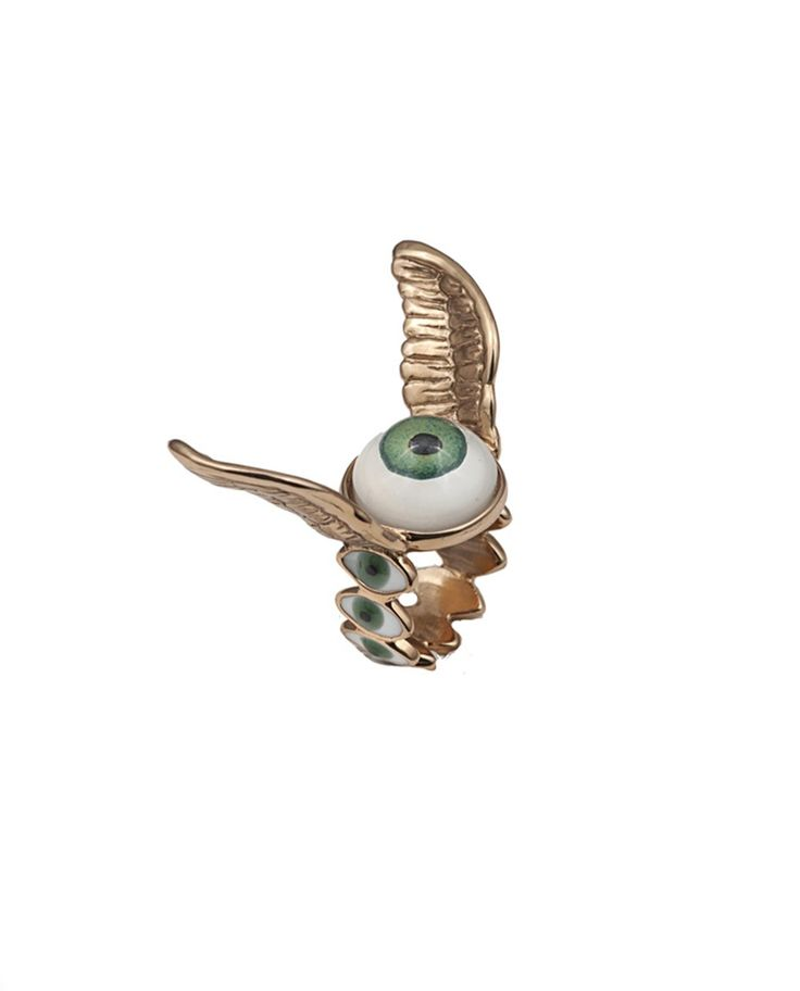 BERNARD DELETTREZ RING WITH EYES AND WINGS  Bronze ring with emerald eye and wings