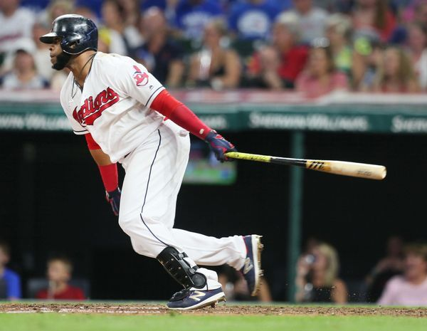 Cleveland Indians Carlos Santana knocks in 2 runs in the 7th inning, scoring Edwin Encarnacion and Jose Ramirez against the Toronto Blue Jay at Progressive Field, on July 21. 2017. This made the score 8-3. (Chuck Crow/The Plain Dealer). Indians won 13-3