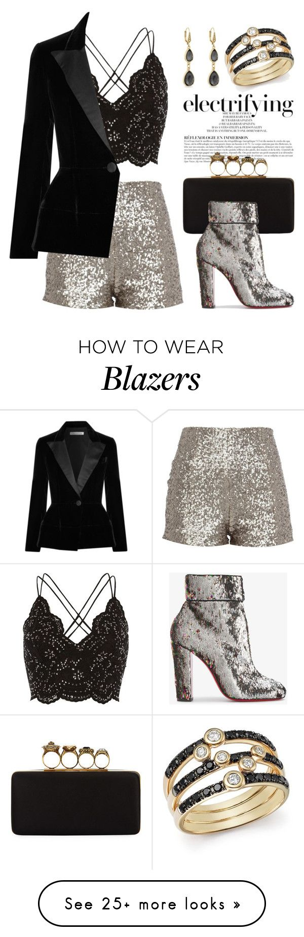 """Inspired by Sequins 4826"" by boxthoughts on Polyvore featuring River Island, Anja, Alexander McQueen, Christian Louboutin, Oscar de la Renta, Laundry by Shelli Segal and Bloomingdale's"