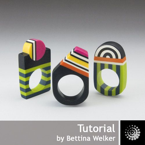 "Polymer Clay PDF Tutorial ""Geometrical Rings"" plus a free Polymer Clay Basics PDF. €8,00, via Etsy."