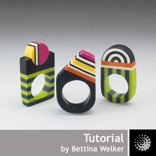 "Polymer Clay PDF Tutorial ""Geometrical Rings"""