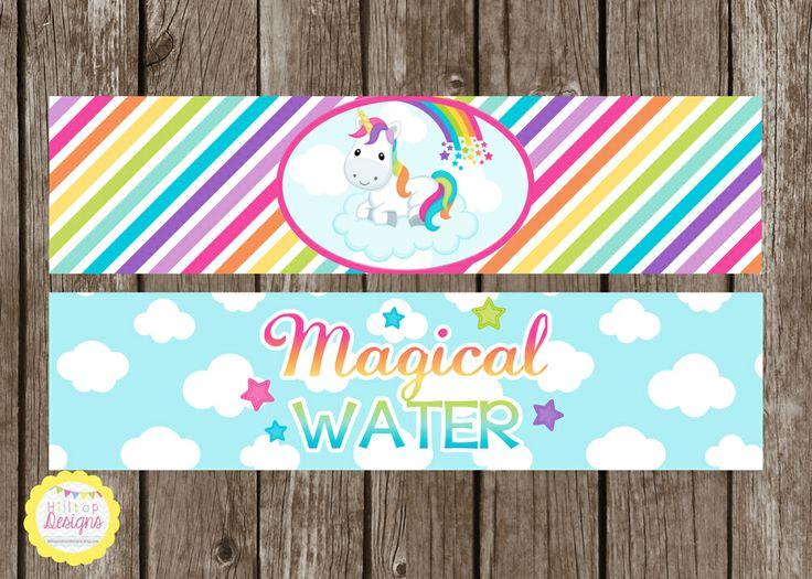 Unicorns & Rainbows Drink Labels from Hilltop Custom Designs, $3.50