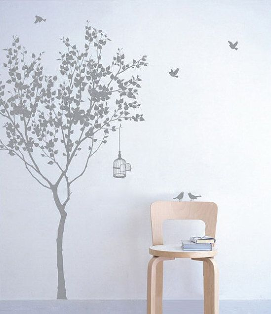 Vinyl Tree Wall Decal Wall Sticker Art tree with by WallDecalDepot, $54.00