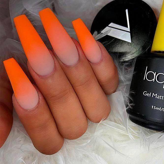 24 Bright Neon Color Ombre Nail Designs Orange Neon Ombre Nails Nailart Ombrenaildesign Nailde Orange Acrylic Nails Ombre Acrylic Nails Ombre Nail Designs