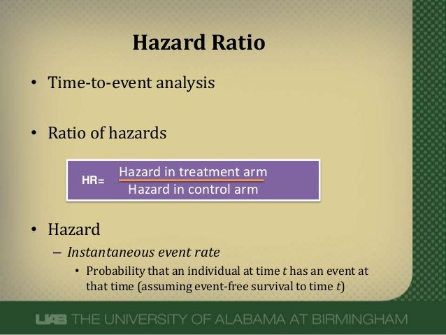 Hazard Ratio::: measure of survival or time-to-event analysis... same as Relative Risk... 1 means there is no difference... less than 1 means that there is a protective effects... over 1 means that there is a detrimental effect