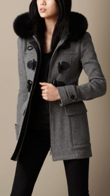 Fur Trim Fitted Duffle Coat
