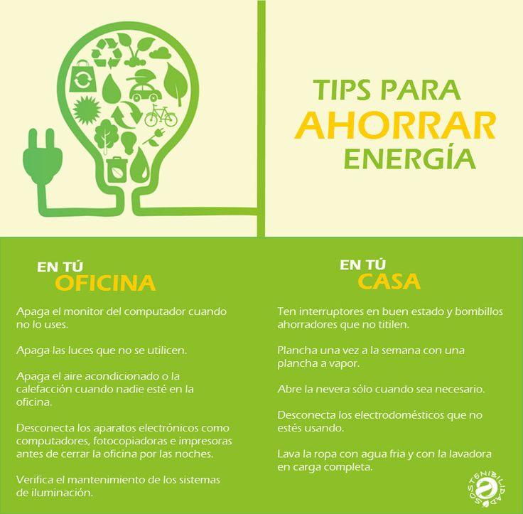 Sostenibilidad. A continuación algunas medidas sencillas que se pueden tomar en la casa o en la oficina para el ahorro de energía.