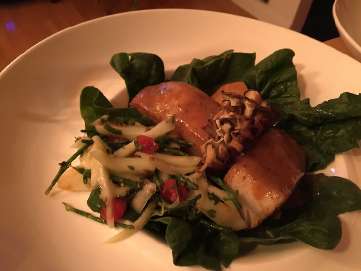 Chilian sea bass, ice apple cidre miso sauce. Spinach, maitake, chatoye salad.