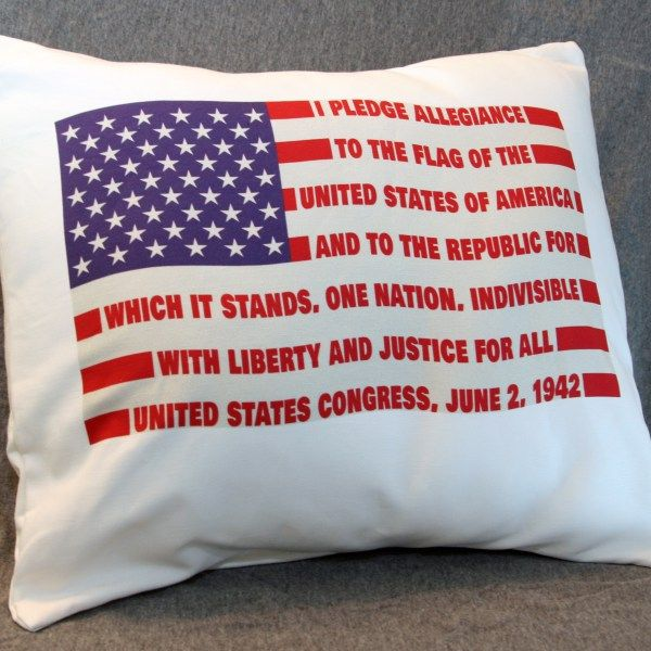 Atheist Throw Pillow Cover featuring the Original Pledge of Allegiance as adopted by the U.S. Congress, June 2, 1942. (Under God was not added in 1954.)