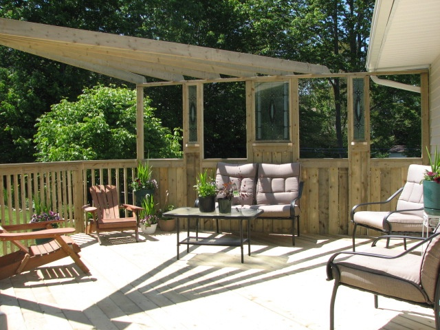Our use of windows provides a unique privacy screen for out deck but still allows for sun.