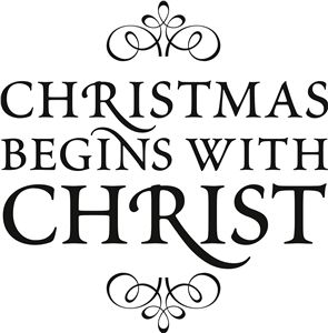 View Design: 'christmas begins with christ' vinyl phrase