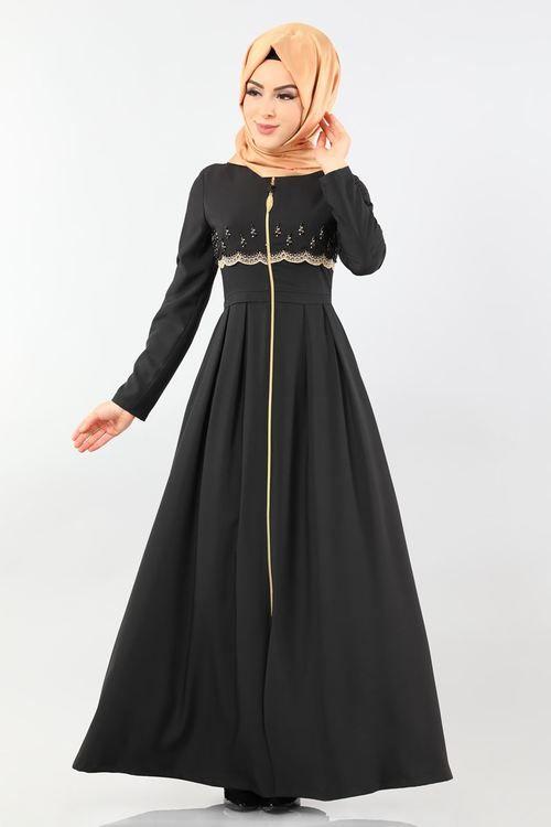 Modaselvim Ferace Nakisli Fermuarli Ferace 9081w153 Siyah Abaya Dress Dresses Disney Princess