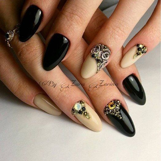 Black And Yellow Nails Evening Festive Trends 2017