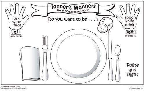 Manners Coloring Pages for Preschool | Preschool Placemat set for good manners
