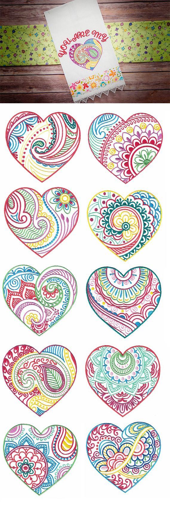 Mehndi Hearts design set available for instant download at designsbyjuju.com