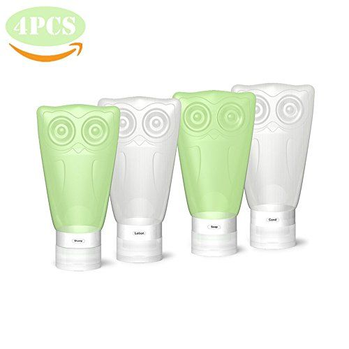 VelPal Travel Bottles Silicone, Travel Kit, Leak Proof, BPA Free, TSA Approved, Set of 4 PCS with Clear Toiletry bag, 3 fl oz/83ml Owl Container for Shampoo/Conditioner/Lotion/Honey/Toiletries >>> You can find more details by visiting the image link. Amazon Affiliate Program's Ads.
