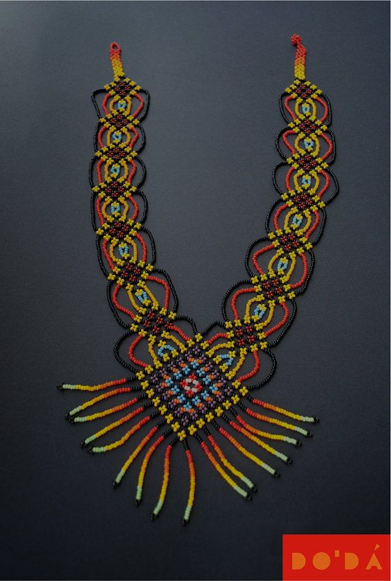 Indigenous Necklace / Multicolored and Hand-beaded / Hand