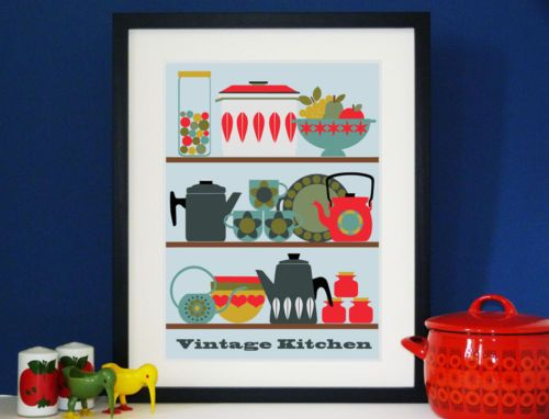 Vintage-Kitchen-A3-Print-modernist-retro-lovers-of-cathrineholm-finel-60s-70s