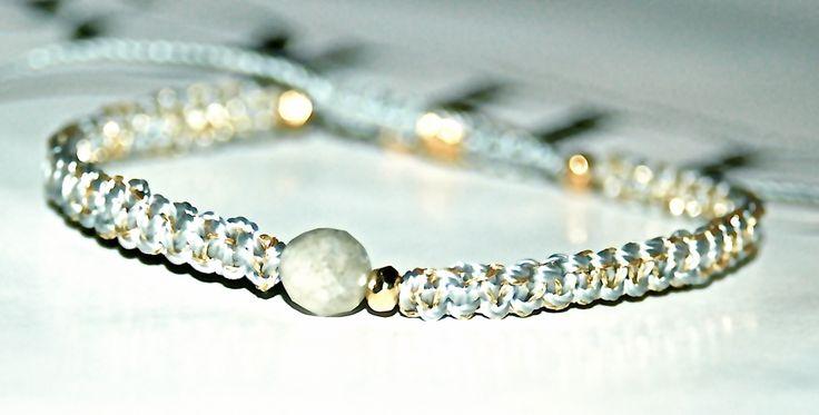 BRACELET PIERRE DE LABRADORITE ET VERMEIL SUR LIEN COULISSANT : Bracelet par evencil