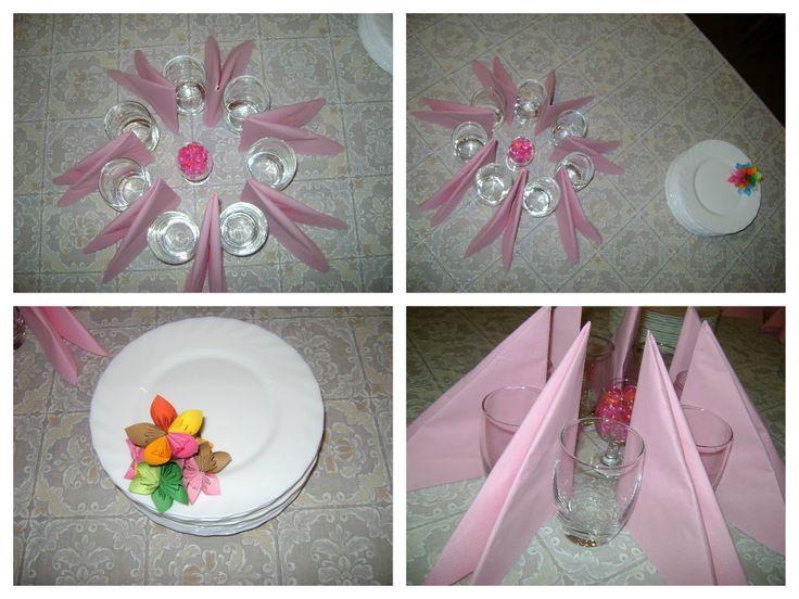 egyszerű,mutatós asztali dekoráció (keresztelői szeretetvendégségre kiváló)