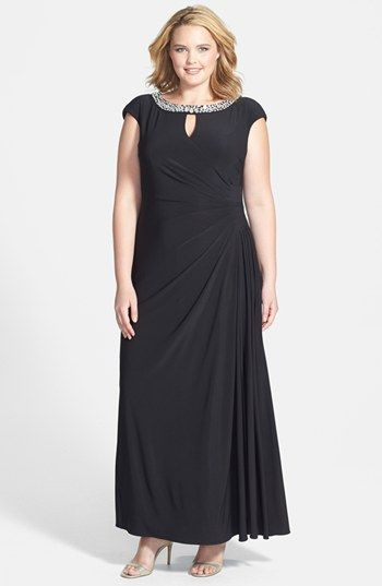 Alex Evenings Embellished Neckline Jersey Gown (Plus Size) available at #Nordstrom