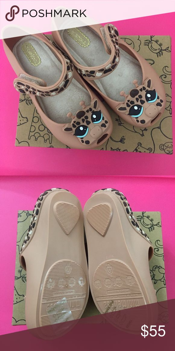 NIB Mini Melissa Giraffe Mary Jane, 9 (Brown) Precious mary jane toddler shoes. Fun giraffe detail. Made in brazil, 100 percent recyclable plastic. New in box, with dust bag. Mini Melissa Shoes