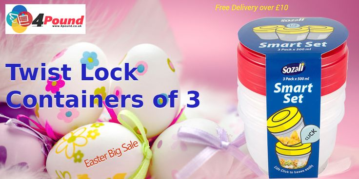 Amazing Discounts on Twist Lock Containers pack of 3 at 4pound Order Now at : http://www.4pound.co.uk/3pk-0.5l-twist-lock-containers