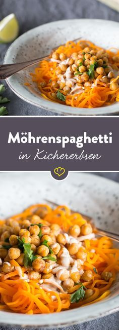 Pasta aus Gemüse statt aus Weizenmehl: Karotten werden dank Spiralschneider, Kichererbsen und Tahini zu leckeren Gemüsenudeln mit orientalischen Aromen.