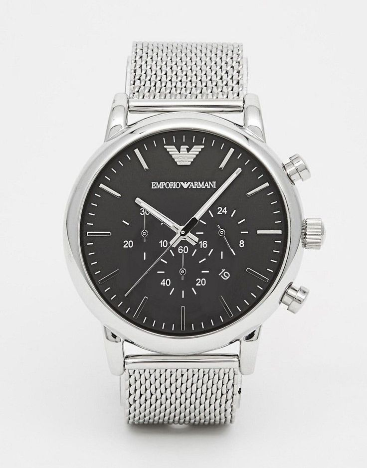 EMPORIO ARMANI CHRONOGRAPH WATCH WITH STAINLESS STEEL MESH STRAP AR1808 - SILVER. #emporioarmani #