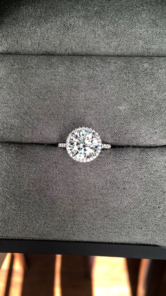 3.16ct VS2/G Amora Gem Ultra set in customer's Victor Canera halo ring. Ring size 6, in platinum. https://betterthandiamond.com/products/Amora-Gem-Ultra.html