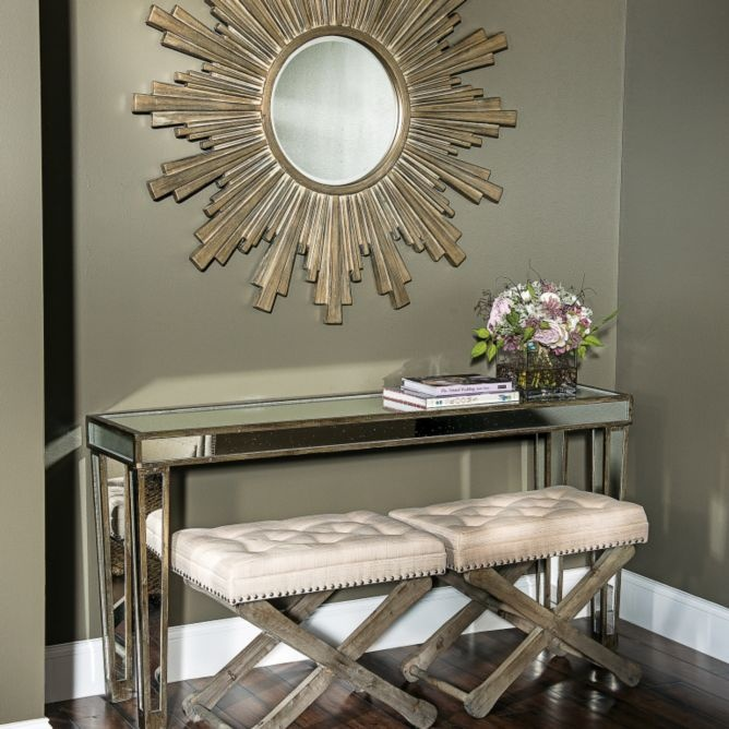 Mirrored Console Table Distressed