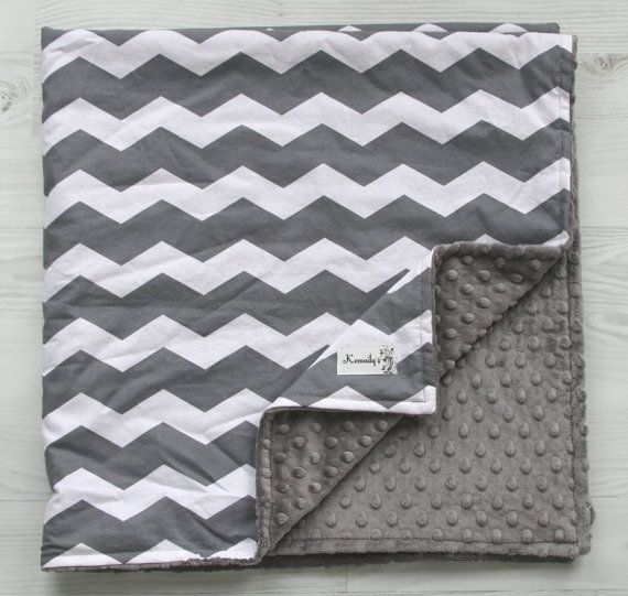 Grey Chevron Baby Minky Burp Cloth Trio From Kemaily by Kemaily