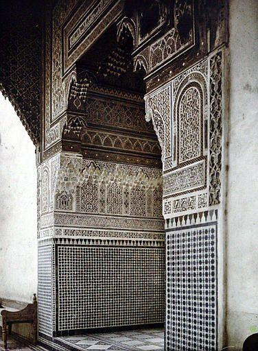 Marrakech  Palais de la Bahia   Entrée d'appartement donnant sur le patio   1924