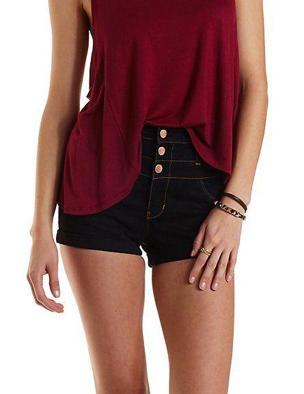 "Refuge ""Hi-Waist Shortie"" Cuffed Denim Shorts: Charlotte Russe #denim #shorts"