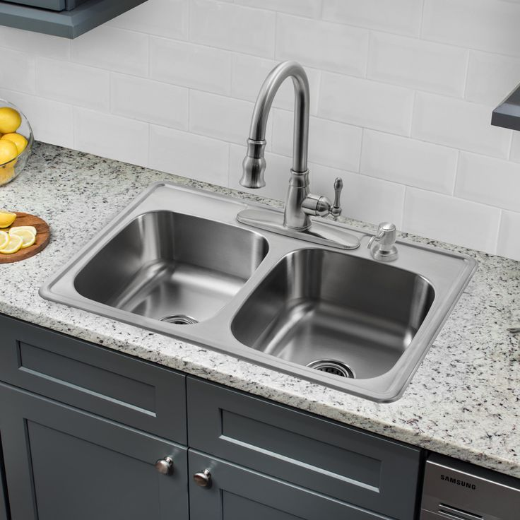 33 l x 22 w double basin dropin kitchen sink with