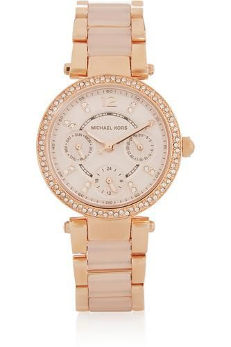 Parker crystal-embellished rose gold-tone watch #accessories #covetme #michaelkors