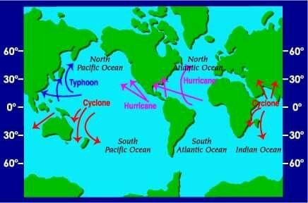 Hurricane  paths globally.