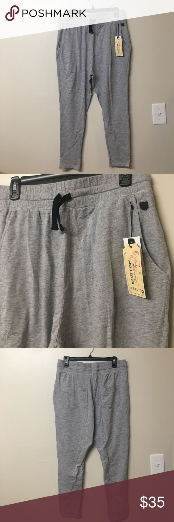 🏷NWT Women's Burton Joggers Brand new with tags AND original packaging!!!   Purchased for $59 Retail. Simply just never wore them. Have only been taken out of the packaging for pictures and to be tried on once. Nike for exposer   They are stretchy, light weight and soft. A grey and white color blend to create a nice heather grey.   4 pockets, black logo on front left. Pull strings to tighten Length - 36.5 inches Waist - 16 inches (elastic can obviously stretch wider, this is the measurement…
