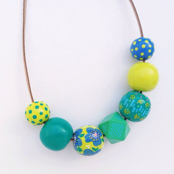 Hand Painted Round and Geometric Wood Beads in by TheColorfulNest
