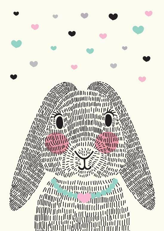 Damit Mr. Rabbit nicht alleine ist: Sparkling paper poster mrs. rabbit | gefunden auf ippysposters.nl