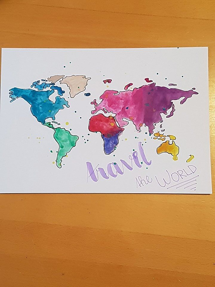 Diy Aquarell Weltkarte Watercolor World Map Mit Bildern
